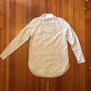 Super soft cream flecked high neck tunic sweater